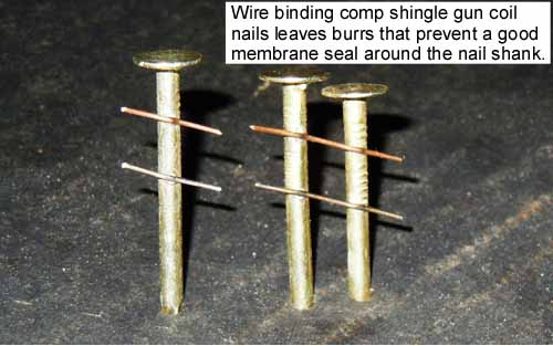 Shingle roofing nails damage ice dam membranes