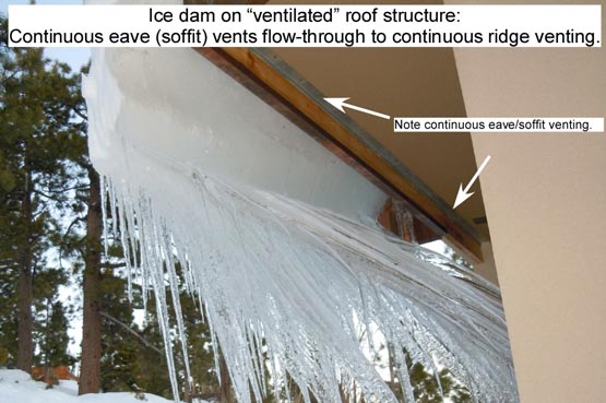 Ice dams form even on ventilated roofs