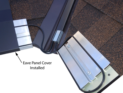 Install panel covers to eliminate icicles