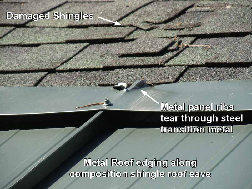 Metal Edging on shingle roofing can cause damage to shingles