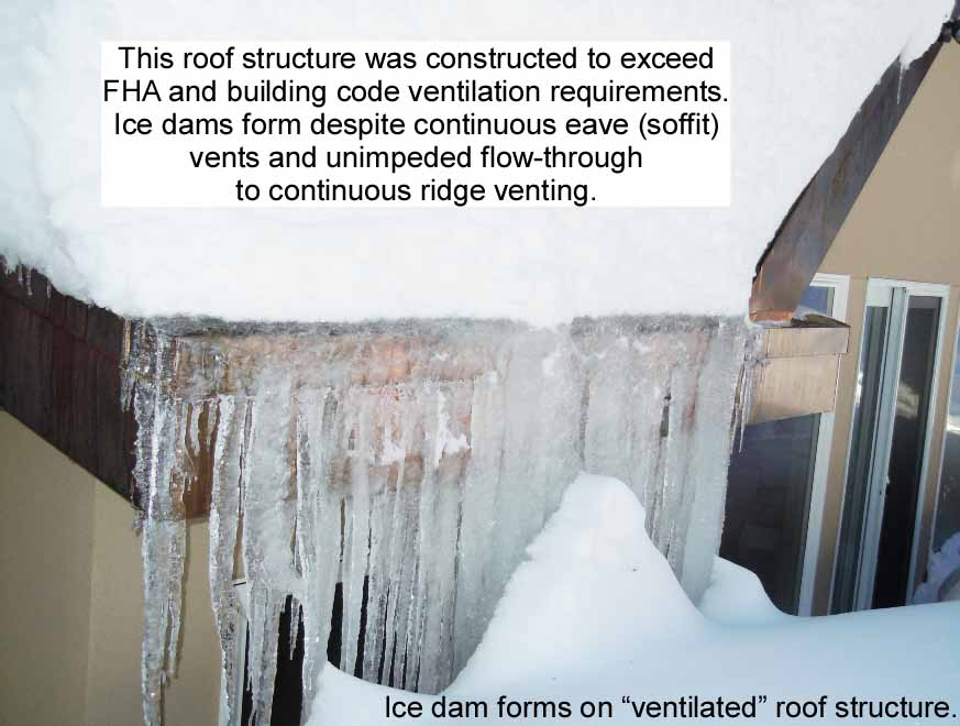 Ice dams form even on this properly ventilated roof