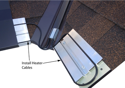 Heat cables to stop ice dams are inserted in base panel